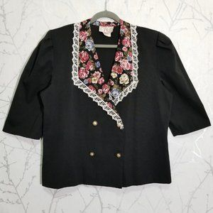 Image Vintage Double Breasted Blazer Floral Detail